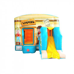 Château Western : un toboggan gonflable pour les enfants
