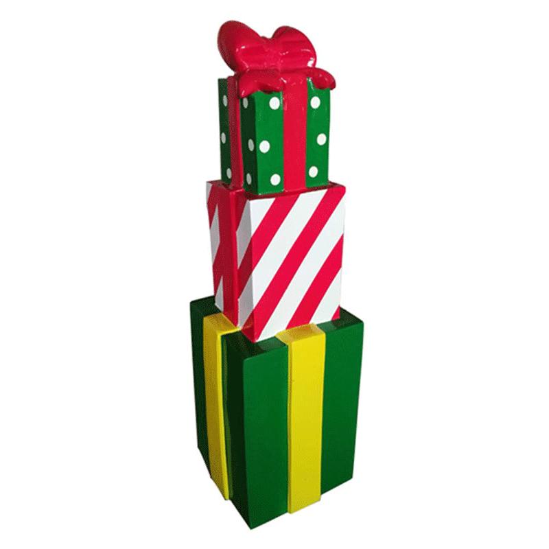 Pile 3 Cadeaux Noël Géant Décoration