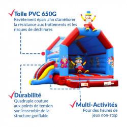 Achat Château Gonflable et Toboggan Gonflable Clown 4m : points forts
