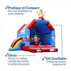 Achat Château Gonflable et Toboggan Gonflable Clown 4m : qualité premium