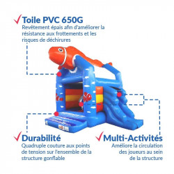 Achat Château Gonflable Poisson Clown : qualité premium