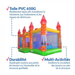Achat Château Gonflable Dragon Médiéval : qualité premium