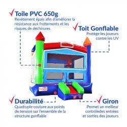 Achat Château Gonflable Arc En Ciel : qualité professionnelle