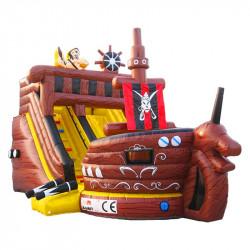 Toboggan Gonflable Bateau Pirate Marron